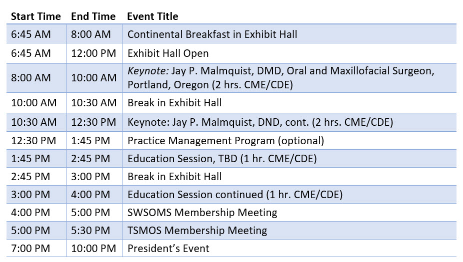 Southwest Society of Oral and Maxillofacial Surgeons Collaborative Meeting Schedule of Events Day 3