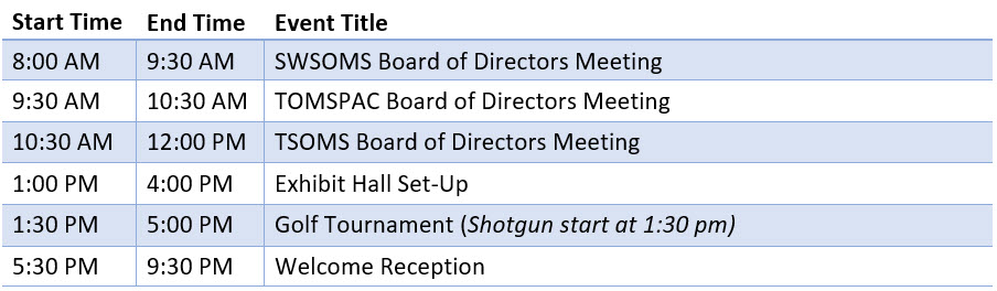 Updated Thursday schedule for TX - SW meeting